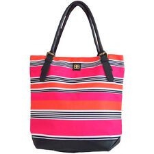 Bagabook Candy Stripe Pink Orange White Black Tote Bag Durable Canvas Gifts
