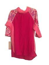 Girls Tuga Shoreline Raspberry 3/4 Sleeve Rashgard Shirt UPF 50+ Lg 11-12yrs
