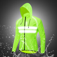 Men's Cycling Jacket High Visibility MTB Bike Wind Coat Waterproof Hooded Jersey