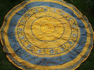Vintage round cotton tablecloth.