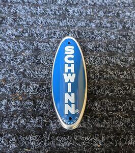 Genuine Schwinn Approved Bicycle Head Badge/Name Plate *BLUE w/ White MADE USA