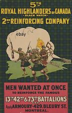 WW1 POSTER BLACK WATCH 5TH ROYAL HIGHLANDERS OF CANADA MONTREAL  NEW A4 PRINT