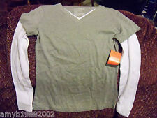 Danskin Active Gray/WhiteThermal Tee Size Small (4-6) Women's NEW LAST ONE