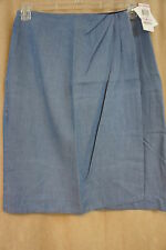 "Charter Club Skirt Sz 6 Soft Blue Denim ""FT Ibiza"" Faux Wrap Business Casual"