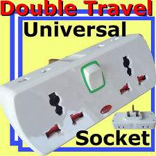 Double Universal Switch Socket Converter 6way MULTI 2pin UK 3pin Travel Adaptor