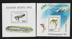 TANZANIA 1993 Summer Sports, 1994 Winter Olympics, mint mini sheets, MNH MUH