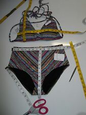Lucky Brand Arabian Night Triangle Halter Multicolor Bikini Top & Bottom L-$126