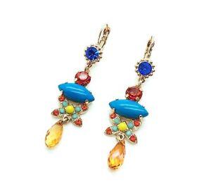 Mariana Earrings Chandelier Turquoise & Blue,Orange,Red,Yellow Swarovski Crys...