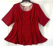 Maria Gabrielle Women's Plus size Red Blouse 24/3X Print Tunic Top Short Sleeve