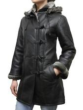 Brandslock Women Genuine Shearling Sheepskin Leather Duffel Coat Detachable Hood
