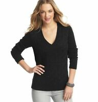 NWT ANN TAYLOR LOFT Black Luxe Angora Sequin V-Neck Cable Knit Sweater $59 XS-S