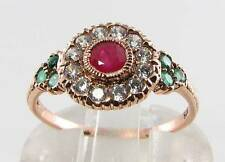 COMBO 9K 9CT ROSE GOLD RUBY DIAMOND & EMERALD ART DECO INS RING FREE SIZE