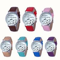 Women Leather Watch Whatever I am Late Anyway Letter Quartz Analog Wrist Watch*