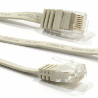 10m PLAT CAT6 Ethernet LAN Câble De Raccordement Ultra GIGABIT RJ45 BEIGE 007650