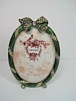 Vintage (Style) Orchid Green Enamel Picture Frame Bow With Rhinestones Gorgeous