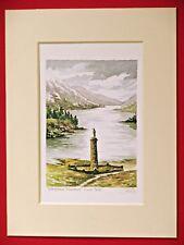 GLENFINNAN MONUMENT LOCH SHIEL BONNIE PRINCE SCOTLAND CHARMING WATERCOLOUR PRINT