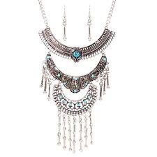 3 Layers Crystal Pendant Women Vintage Bib Necklace Statement Dangle Earring Set