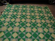 Vintage Handmade 93x78 Patchwork Hand Tied Quilt queen blanket comforter
