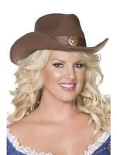 FEVER WILD WEST COWBOY HAT, BROWN, FELT WITH GOLD STAR DETAIL.
