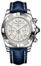 Breitling Stainless Steel Genuine Leather Strap Wristwatches
