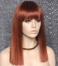 Sexy Choppy ends One length Copper red Wig Straight Blunt Bangs DC 130
