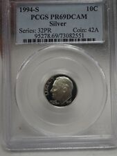 1994 S 10C Silver Roosevelt Dime Proof PCGS PR69DCAM # 2551