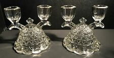 Pair Vintage Crystal Glass Double Candle Stick Holders