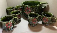 VTG Enesco Poinsetta Holly Christmas Punch Bowl With 6 Cups An Ladle