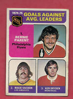 1975-76 TOPPS # 213 PARENT + VACHON + DRYDEN LEADERS  CARD