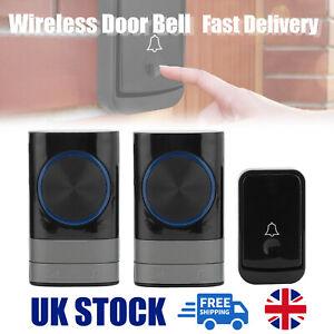 Wireless Door Bell Doorbell 300M Waterproof Wall Plug In Loud Chime LED Flash UK