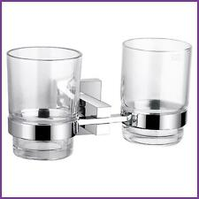 Square Double Tumbler Holder Brass Chrome Finished