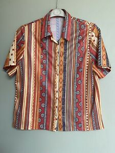 VINTAGE 70s PRINT RETRO MULTICOLOURED TOP SHIRT WITH COLLAR AND BUTTONS