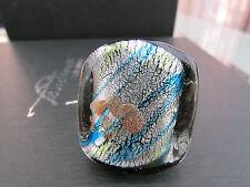 Un gran Grueso De Plata Con Azul Y Oro Anillo De Cristal De Murano/estilo Dicroico. (12).