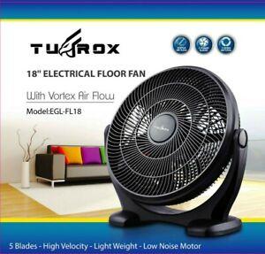 "18"" Black Floor Fan High Velocity Industrial 3 Speed Free Standing Large Gym Fan"