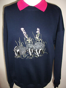 LADIES SWEATSHIRT,JUMPER,TOP WITH AN EMBROIDERED BADGERS ANIMAL DESIGN NAVY/PINK