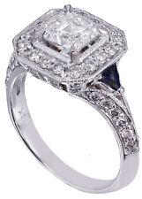 GIA I-VS2 18k White Gold Asscher Cut Diamond Engagement Deco Halo Ring 1.45ctw
