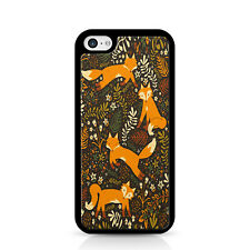 Fox And Flowers Black Phone Case