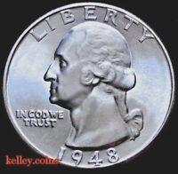 1948-D 25C Washington Silver Quarter BU