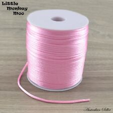 Pink Satin Nylon Cord 2mm Teething DIY Necklace Beads Jewellery 1 to 40 Meters