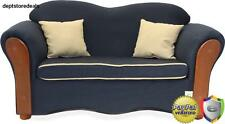 Sofa Couch for Kids Home Furniture Vintage Style Navy Blue Wood Chair