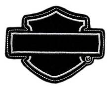 Harley-Davidson Genuine Blank Bar & Shield Frayed Emblem Patch, 4 x 3 inches