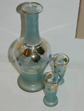 vintage ANCIEN vase CARAFE VERRE à LIQUEUR bleu DORE gold or GLASS glas VASO