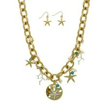"""16"""" Starfish Turquoise Pearl Bead Beach Aged Gold Chain Necklace & Earrings Set"""