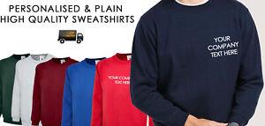 Personalised Printed SWEATSHIRT Jumper Work Uniform Customised Team Wear TEXT