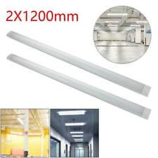 2x 4FT 1200mm Slim LED Wide Batten Tube Light Ceiling Strip Bar Daylight White
