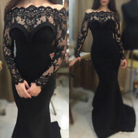 2018 Black Long Formal Evening Party Gown Custom Mermaid Lace Prom Dress Pageant