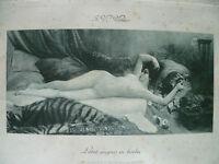 Gravur Akt Anfang 1900 Unterzeichnet Jules-Victor Verdier