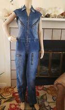 VTG Womens Rocawear Blue Jean Denim Cap Sleeve Jumpsuit Size M One piece Zip Up