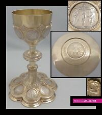 ANTIQUE 1900 FRENCH ALL STERLING SILVER GILT VERMEIL CHALICE & PATEN 14 Stations