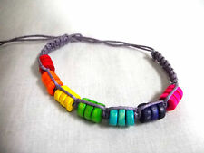 LAVENDER PURPLE MACRAME w COLORFUL RAINBOW WOOD BEADS TIE ON BRACELET OR ANKLET